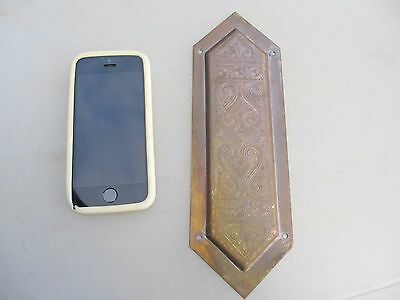Victorian Brass Finger Plate Push Door Handle Architectural Antique Etched  1893