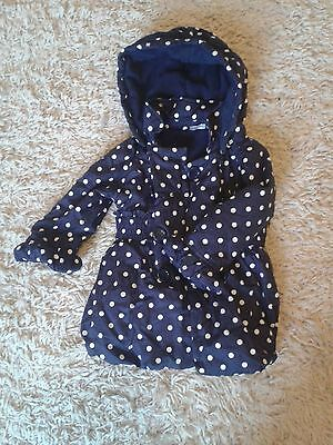 Girls Blue Polka Dot Coat / Jacket 1.5-2 years 18 months-2 years by George