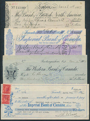 Canada: 1887-1934 Set of 4 different cheques, including SCARCER BANKS!