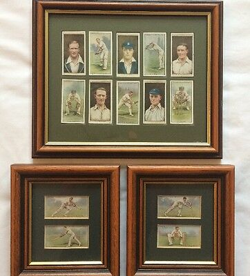 3 framed original WD & HO Wills Cricketers1928-29 & 2nd Series Cigarette Cards