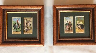 John Player two framed glazed original part sets of two Cycling Cigarette Cards