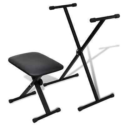 Adjustable Keyboard Stand Piano Stool Set Seat Folding Bench Chair Poratble Seat