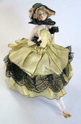 Vintage Art Deco  Porcelain Half Doll Pincushion Withlegs Hatpin Doll