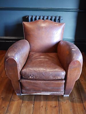 Antique Vintage French Moustache Leather Brown Club Chair
