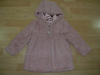 TU Girls Pink Faux Fur Party Coat Jacket Age 2-3 98cm Christmas