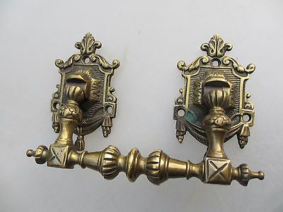 Antique Brass Chest Handle Drawer Pull Ornate French Cast Gilt Vintage Old 1800s