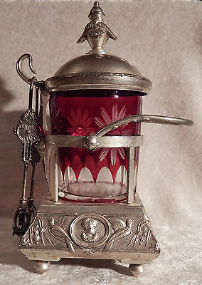 Vintage Pickle Castor Silver Plated Ruby Cut To Clear Glass Insert Caesar As-Is