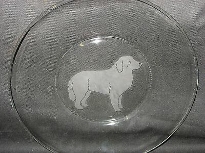"""New Etched Great Pyrenees 8"""" Glass Bread Salad Dessert Plate"""