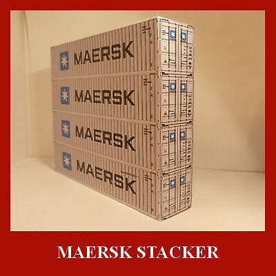 Maersk Stack 4 Shipping Containers Card Kit x 4 Model Railway HO 1:87 Gauge ALL