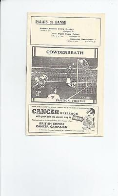 Cowdenbeath v Partick Thistle League Cup 1956/57  Football Programme