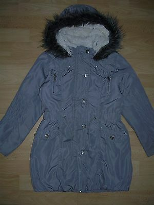 NEXT Girls Grey Coat Hooded Jacket Age 7-8 128cm