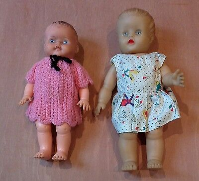 2 vintage 1950s rubber dolls