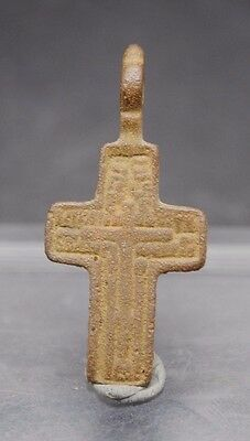 Late Medieval/post Medieval Copper Alloy Crucifix Cross Pendant 16Th -17Th C