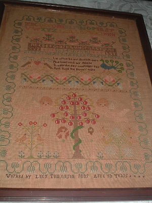 LARGE framed Early VICTORIAN SAMPLER Lucy Tomlinson 1839 ADAM & EVE Tree of Life