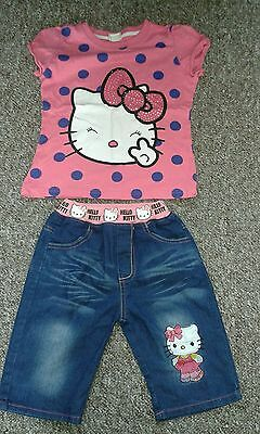 Girls hello kitty shorts and t-shirt set barely worn size 130