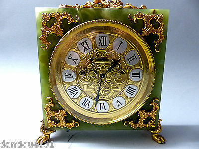 Top Quality Mappin & Webb Mantle Clock - Green Onyx With Gold Rococo Decoration
