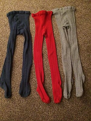 Girls Next 3 Pairs Of Ribbed Cotton Thick Tights EUC age 7-8 Yrs Red Blue & Grey
