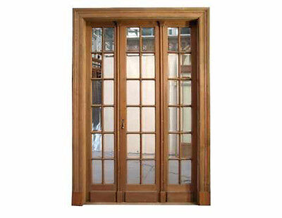 Antique Triple French Wooden Door w/ Beveled Glass #B1627