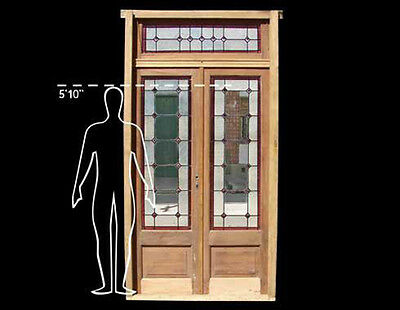 Double Stained Glass Door with Transom #4673