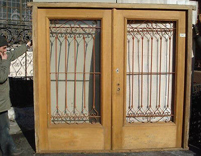Colonial Wide Double Entry Door w/ Iron Insert #1110