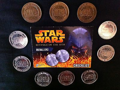 STAR WARS Revenge of the Sith Medalionz Coins x 10 with Checklist Card