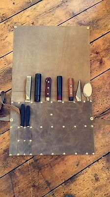 Chefs Knife - Leather Knife Roll - Handmade in the UK