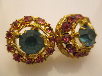 Earrings Clip Vintage Multicolored Glass Facet Stone Gold Plated (BB168)