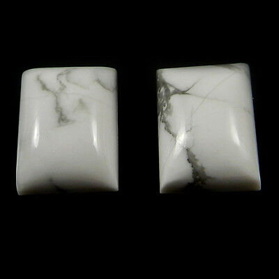 1 Pair Natural Howlite Gemstone 12x16mm Rectangle Cab 27.7 cts Stones ER4174