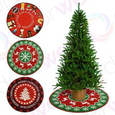 CHRISTMAS TREE SKIRT Mat Floor Protector Xmas Rug Indoor Decor Reindeer Santa