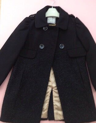*NEXT* Girls Black Sparkle Coat Smart Duffle Jacket Party (5-6 Years) A225