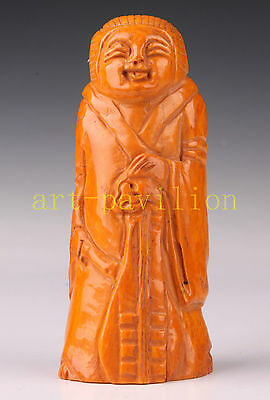 Cattle Bone CARVING CRAFT JAPANESE MAN STATUE FIGURINE NETSUKE PENDANT OLD