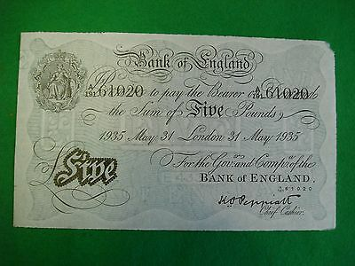 Operation Bernhard WWII era white £5 note dated May 31st 1935 crisp unc FREEPOST
