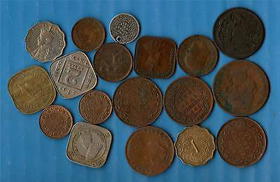 18 OLD COINS of INDIA & OTHER COUNTRIES - PLEASE LOOK