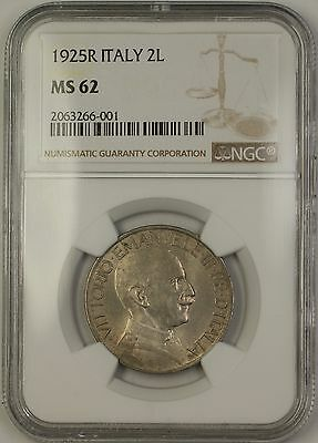 1925R Italy 2L Two Lire Coin NGC MS-62