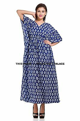 Indian Beautiful Cotton Kaftan Dress Batik One Size Plus Beach Indigo Blue Gown