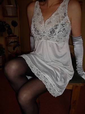 Vtg St Michael Silky White with Full Lace Bodice Full Slip Petticoat 16 (EU 44)