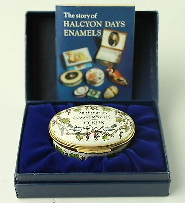 """HALCYON DAYS ENAMELS """"All Things Are Sweetened By Risk"""" Ring Holder"""