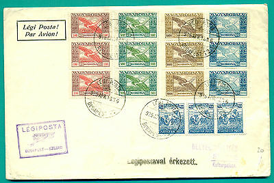 1925 Ungarn Hungary Budapest - Szeged Airmail Cover  Great Franking