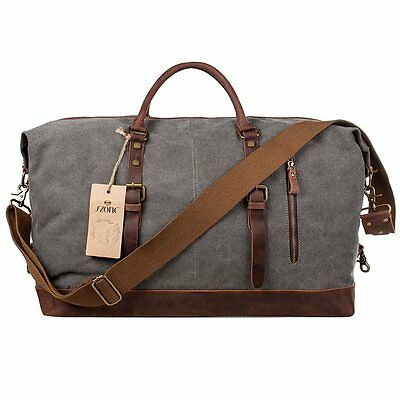 Mens Canvas Leather Holdall Travel Duffle Overnight Weekend Satchel Bag - Grey
