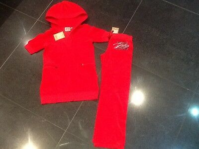 NWT Juicy Couture New & Gen. Girls Age 8 Red Velour Tracksuit With Juicy Logo