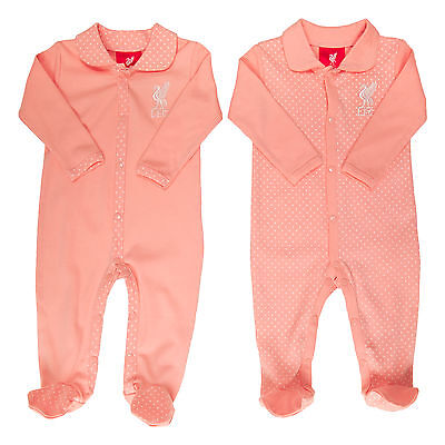 Liverpool FC  LFC Liverbird 2 Pack Pink Baby Sleepsuits Official