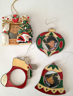 4 Vintage Christmas Picture Frames Ornaments 2.5 Inch Tall
