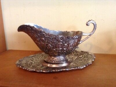 Japan very fancy vintage silverplate gravy sauce boat with plate