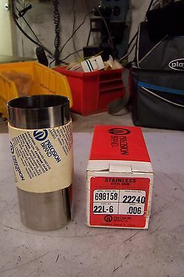 """New Precision Brand 22L-6 Stainless Steel Shim Gage .006 6"""" Wide 50"""" Long"""