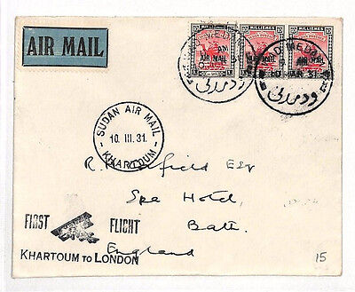 AJ352 1931 UPPER NILE AIR FFC *Khartoum* GB First Flight Cover Camel Post Stamps