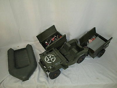 Vintage 1970's Action Man Vehicle Bundle - Jeep, Boat, Trailers