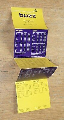 Buzz budget airline timetable folded leaflet Summer 2002