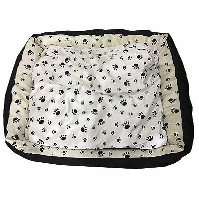 X Display Satin Soft Pet Bed Clearance - Black Print On Cream & White - X-Large