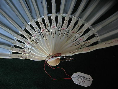 Antique French Carved Fan-Pink Flowers Gold Scrolls Pierced - Original Box & Tag