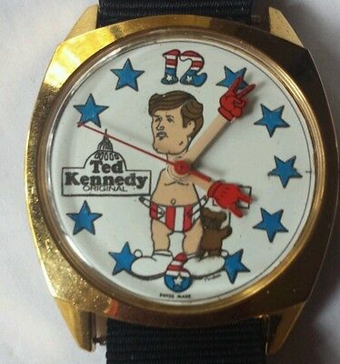 Ted Kennedy Political Wrist Watch 1970's Swiss Made